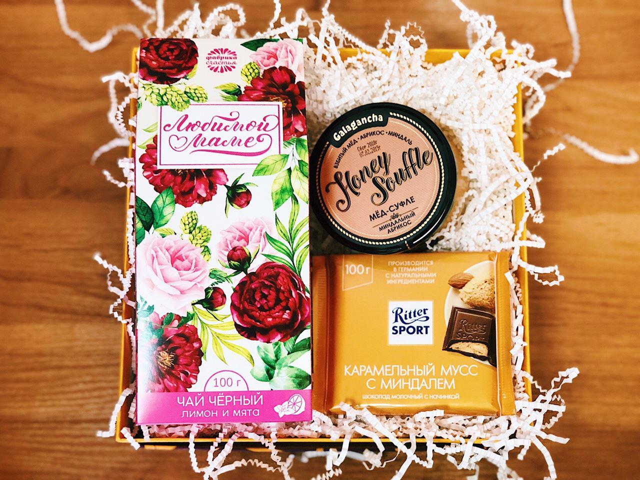 Подарочный набор маме: чай, мед суфле, шоколад от 1 195 руб