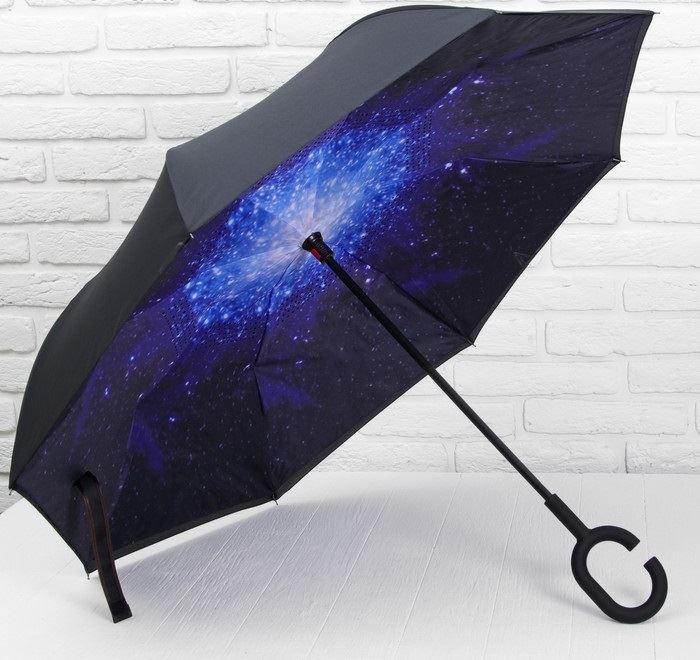 Зонт двухсторонний наоборот «Космос», трость от 1 350 руб